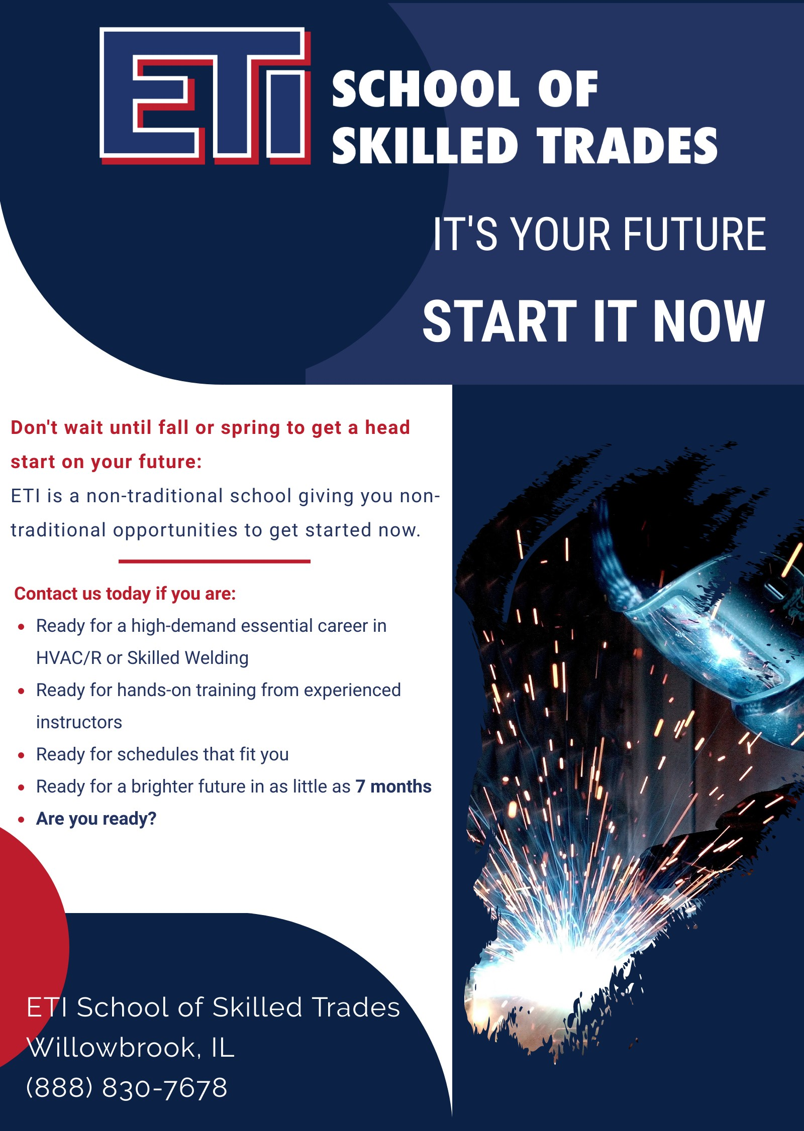 ETI School of Skilled Trades | Welding & HVAC/R Programs Enrolling Now. Contact ETI at (888) 830-7678 for more information on our programs.